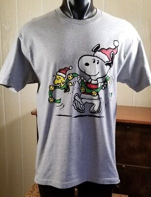 Peanuts Snoopy & Woodstock Christmas Sleigh Bells T-Shirt Adult Size L