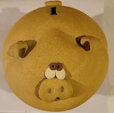 """8"""" across. Round CUTE Piggy Bank with cork"""