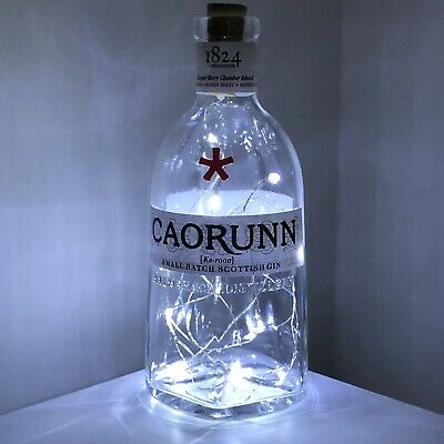 Upcycled Led Cool White Cut Glass New Style Caorunn Gin Bottle Table Lamp