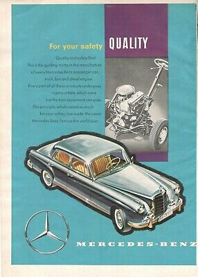 1958 Original Advertising' American Mercedes Benz Germany For Your Safety