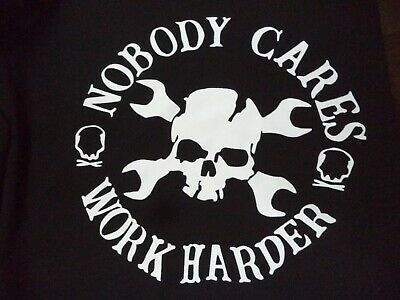 "Chicyea ""Nobody Cares Work Harder"" Man's Hoodie Black w/ White Poly? 2XL NIP"