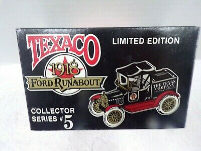 Ertl Texaco Collectors Series #5 1918 Ford Runabout Coin Bank With Key  ( NIB )