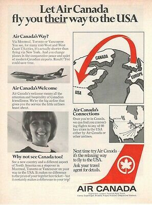 Original Advertising' Air Canada Company Aerial Fly You Their Way to The USA