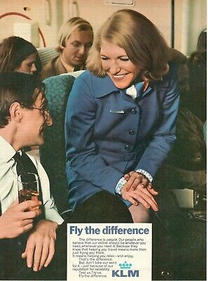 1972 Advertising' Vintage Klm Holland Royal Dutch Airlines Fly the Difference 1z