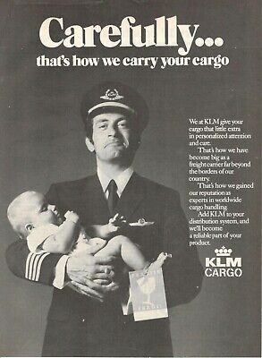 1972 Advertising' Vintage Klm Holland Royal Dutch Airlines Cargo Carefully Child