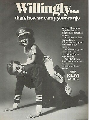 1971 Advertising' Vintage Klm Holland Royal Dutch Airlines Cargo Child Pilot