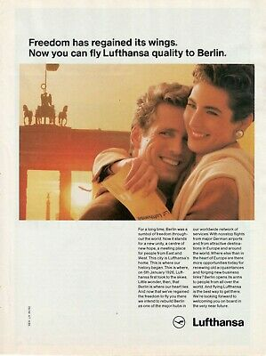 1990 Original Advertising' Lufthansa Germany Airlines Quality to Berlin