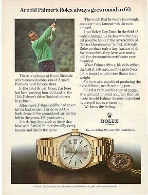 Original Advertising' Advertising Rolex Watch Day-Date Arnold Palmer Golf