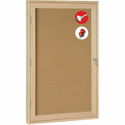 "MasterVision Cork Bulletin Enclosed Cabinet, Wood Frame, 24""W x 36""H"