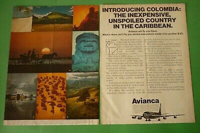 1972 Original Advertising' Avianca Airlines Colombia 2 Pages