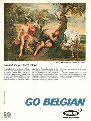 1973 Original Advertising' Airlines Sabena 50° Go Belgian by Peter Paul Rubens