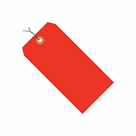 "#2 Wired Tag Pack 3-1/4"" x 1-5/8"", 1000 Pack, Red Fluorescent"