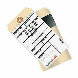2 Part Carbon Style Inventory Tag, 0 - 499, 500 Pack
