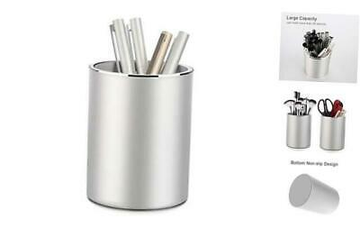Metal Pencil and Pen Holder  Round Aluminum Desktop Organizer and Cup Storage Bo