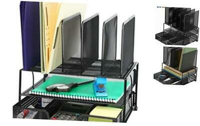 SimpleHouseware Mesh Desk Organizer with Sliding Drawer, Double Tray and 5 Uprig