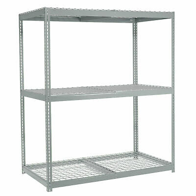 """Wide Span Rack With 3 Shelves Wire Deck, 1100 Lb Capacity Per Level, 96""""W x 24""""D"""