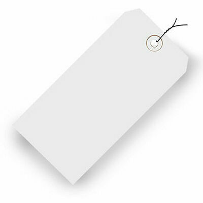 "Pre-Wired Colored Shipping Tags - 2-3/4""Wx1-3/8""L - Case of 1000 - White"
