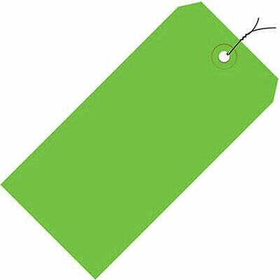 "Pre-Wired Colored Shipping Tags - 6-1/4""Wx3-1/8""L - Case of 1000 - Light Green"