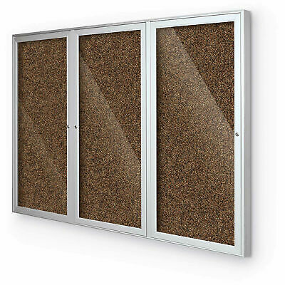 BaltĒ Enclosed Bulletin Board - 3 Door - Tan Rubber - Silver Aluminum Frame