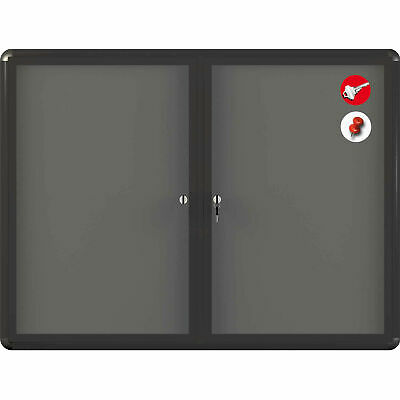"MasterVision Fabric Enclosed Bulletin Cabinet, 48""W x 36""H"