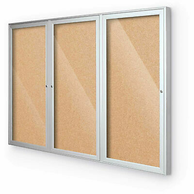 Balt® Indoor Enclosed Bulletin Board - 3 Door - Cork - Silver Aluminum