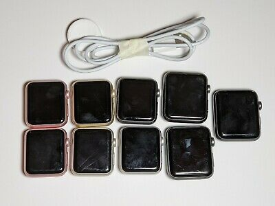 Lot of 9 Apple Watch S1 & S2 | Mixed Color & Size No Bands | Working | $3k MSRP