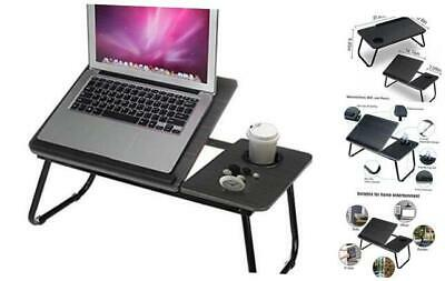 Laptop Desk,Adjustable Portable and Durable Wooden Folding Bed Table with Cup Ho