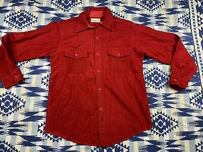 Red Chamois Cloth Heavy Flannel Work Shirt Large Mens Lands End Vintage Cotton