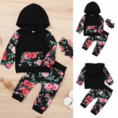 UK Newborn Baby Girls Rose Floral Tracksuit Hoodie Pant Set 2Pcs Outfits Clothes