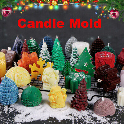 SM2115 Christmas Candle Silicone Mould Mold Paperclay Cake fondant Resin