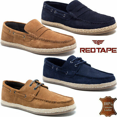 Marina Yachting Boat Shoes Mens Leather Suede Lace Up Deck Moccasin Loafers