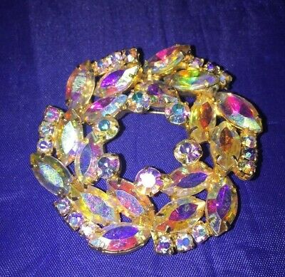 Vintage Juliana Golden Frosted Navettes And Aurora Borealis Rhinestones Wreath Brooch and Earrings