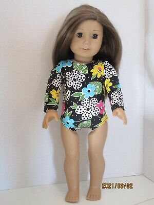 """Flowers//Black Dance//Gymnastic Leotard For 18/"""" Doll Clothes American Girl"""