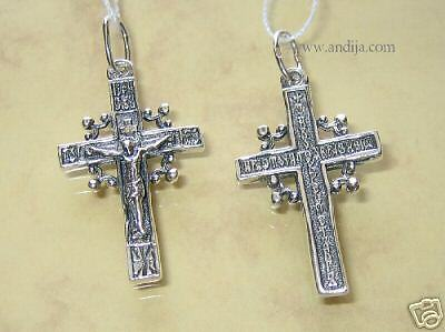 OLD STYLE RUSSIAN ORTHODOX ICON CROSS w/ PRAYER, SILVER