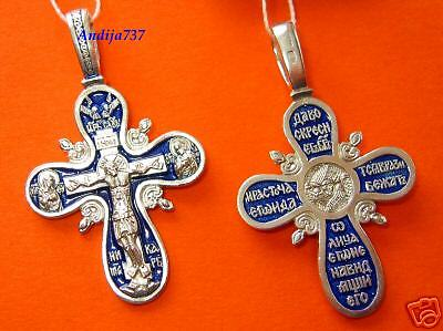 OLD STYLE RUSSIAN ORTHODOX ICON CRUCIFIX ,SILVER,ENAMEL
