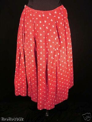FRENCH VINTAGE 1940'S PROVENCE RED COTTON PRINT SKIRT