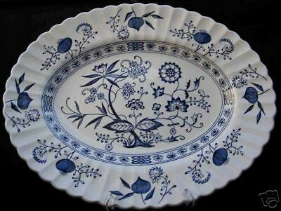 J G MEAKIN BLUE NORDIC ONION SERVING PLATTER OVAL 13""