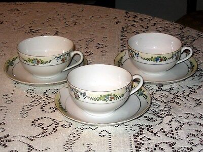 Handpainted Noritake China - Set of 3 Cups and Saucers