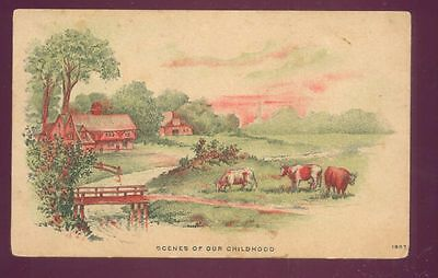 Scenes of Our Childhood, COWS FARM HOUSE POSTCARD