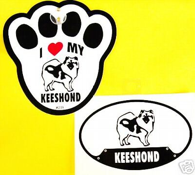 Keeshond- Decal & Window Pawprint W/ Suction Cup Set
