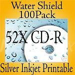 52X CD-R Water-Shield Silver Inkjet Printable 100/Pack