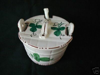 ITALIAN HAND PAINTED SUGAR BOWL W/ GLASS SPOON-SIGNED