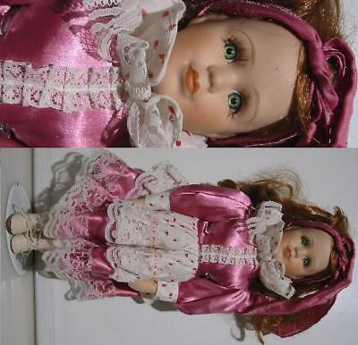 """15"""" Tall Bisque Porcelain Doll in Pink and White Dress"""