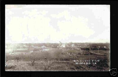 Belmond Iowa 1908 RPPC Birdseye View Town, Bridge IA