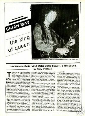 BRIAN MAY Queen vintage guitar magazine PINUP