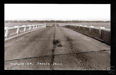 Sabula Iowa 40s RPPC Birdseye from River Bridge IA