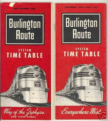 2 1961-3 Burlington Route Timetables Railroad