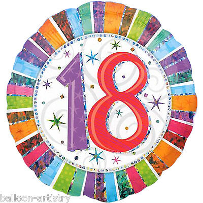"""18"""" Radiant 18th Birthday Prismatic  Foil Balloon Party"""