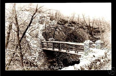 Decorah Iowa 1930 RPPC Lovers Lane Stone Twig Bridge IA