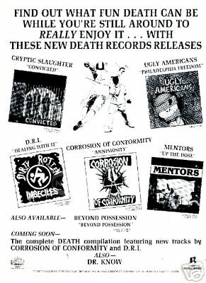 DEATH RECORDS AD hc metal punk 80's DRI COC MENTORS